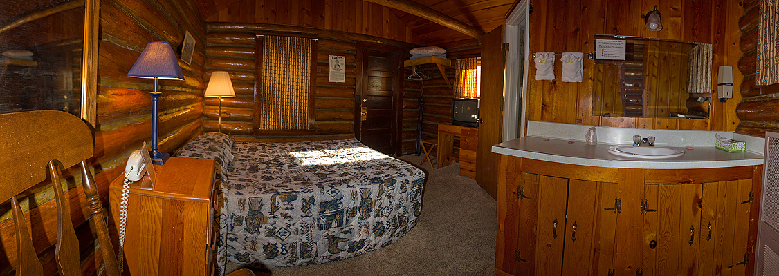 Inside of a cabin at the mountain view motel